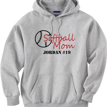 Softball mom hoodie sweatshirt. Personalized with player's name and number.  Softball.