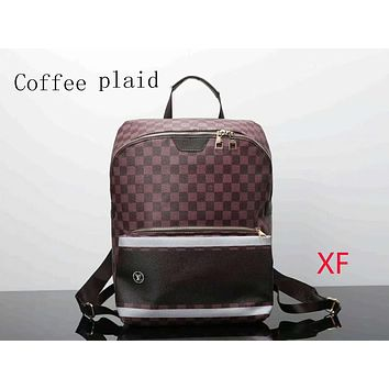 LV trendy men and women backpack backpack F-LLBPFSH Coffee plaid