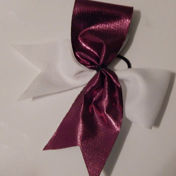 Super Cute Pink and White Tic Toc Cheer Bow