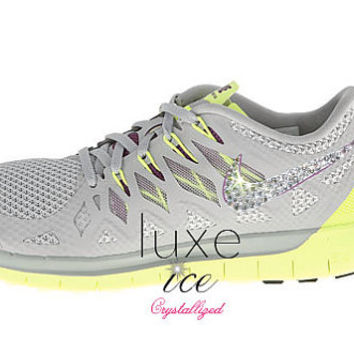NIKE Free 5.0 2014 running shoes w/Swarovski Crystals - Base Grey/Volt/Light Base Grey/Bright Grape
