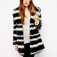 ASOS Faux Fur Coat in Mono Stripe at asos.com