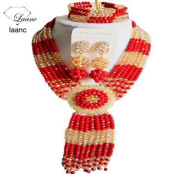 laanc 18 inch African Beads Jewelry Set Necklace For Bridal Nigerian Wedding Opaque Red and Gold Champagne Crystal G069