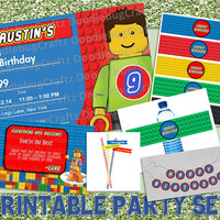 SAVE 20% LEGO Theme Printable Birthday Party Set - Invitation, Thank You Card, Water Bottle Labels, Banner, Straw Flags