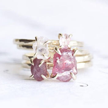 Set of 4 Rings - Kunzite, Sapphire, Heat Treated Ruby and Untreated Ruby. Kunzite Ring. Pink Sapphire Ring. Ruby Ring. Rough Ruby Ring.