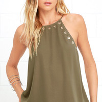 Have We Grommet? Olive Green Tank Top