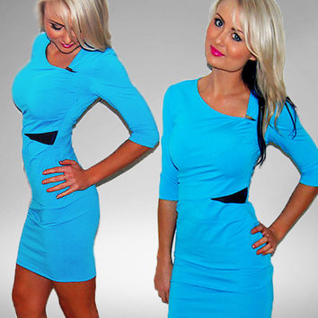 Kardashian Kollection Bodycon Dress Turquoise Blue