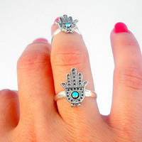 Set of 2 Hamsa Above The Knuckle Rings - 2 Silver Hamsa  Rings - Set of 2 by Tiny Box