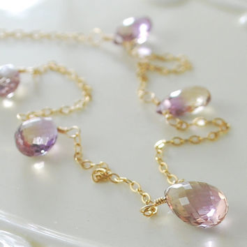 Ametrine Necklace in Gold by livjewellery on Etsy