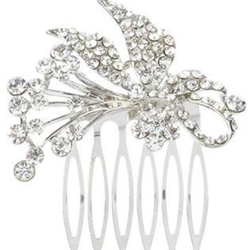 Hair Accessory Pave Crystal Stone Flower Bouquet Hair Comb Metal Setting 2 Inch Wide 1 3/8 Inch Tall