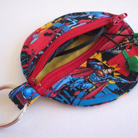Superman Circle Earbud Holder Pouch / DC Comics Coin Purse / Comic Book