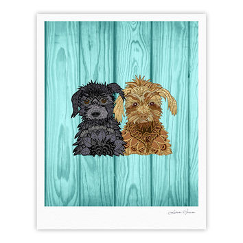 "Art Love Passion ""Daisy and Gatsby"" Abstract Puppies Fine Art Gallery Print"