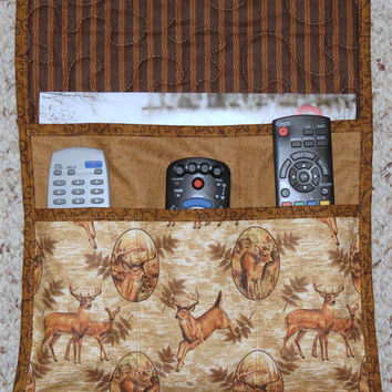 Quilted Armchair Caddy, Bedside Caddy, Remote holder, Deer