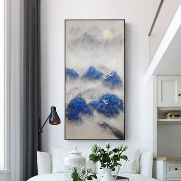 Original mountains arcylic painting on canvas art nordic extra Large navy blue oil painting Wall Art Picture Home Decor caudros abstractos
