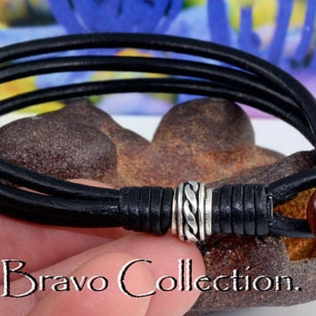 B-110 Sterling Silver, Leather & Red Tiger New Eye Surf Wristband Men Bracelet.