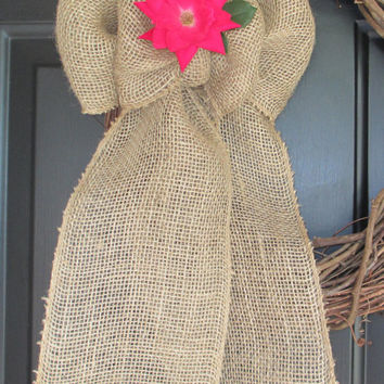 Burlap Bow with Flower Holder Loop, 8 Inch, Country Rustic, Floral, Wedding, Pew, Wreath, Home Holiday, DIY Projects, Multipurpose