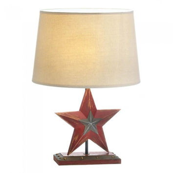 Farmhouse Red Star Table Lamp Set