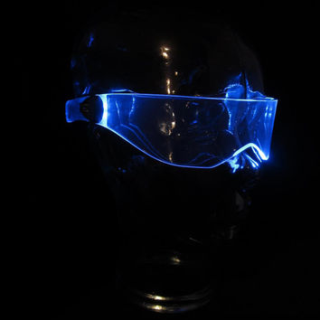 The Original Illuminated Cyber goth visor V3 Neon Blue like cyberdog Sailor Mercury cosplay