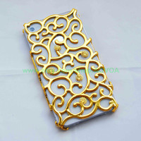Iphone 4 4S golden curve Case with golden  flower fit Iphone 4, Iphone 4s, iphone 4g, Iphone 4gs AT&T Verizon Sprint