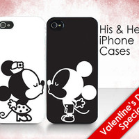 "His & Hers Cases - ""Mickey and Minnie Kissing"" - 2 iPhone Covers"