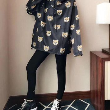 ONETOW Moschino' Women Sport Casual Cute Bear Cartoon Print Loose Long Sleeve Hooded Windbreaker Sweater Tops