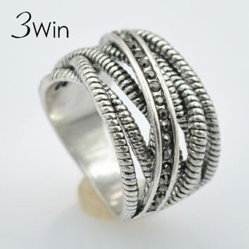 Thai Silver Ring Cross Stripes Restoring European Creative Jewelry Vintage Rings for Unisex