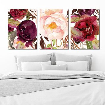 WATERCOLOR Floral Wall Art, Watercolor Flower Art, Watercolor Decor, Floral Nursery Decor, Floral Artwork, Set of 3 Canvas or Print Pictures