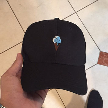 Vintage ICE CREAM Baseball Cap Low Profile Dad Hats Baseball Hat Embroidery Black