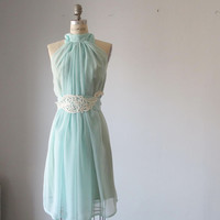 Dress Romantic Bridesmaids Wedding Dreamy Misty Aqua blue / pale mint green Soft Heavenly Chiffon ready for shipping