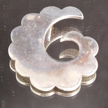Sterling Silver Cloud With Six Design Pendant, Vintage Retro Silver Jewelry, Fine Precious Metal Bling, Free Shipping and Gift Box