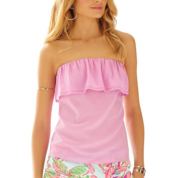 Lilly Pulitzer Ginny Strapless Silk Ruffle Tube Top