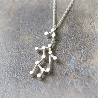 Virgo Zodiac Sign Necklace / silver plated brass or sterling silver