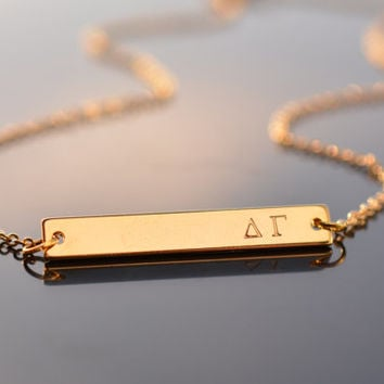 sorority necklace greek letters necklace gold bar necklace custom sorority gifts jewelry