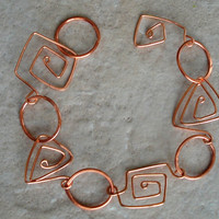 Swirly Copper Wire Link Bracelet by CaliLilyTreasureCo on Etsy