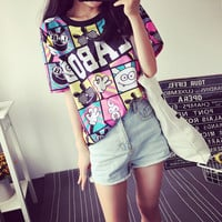 fashion Women's Summer T-Shirt Clothes Shirt  O-neck The letter printing  Free Shipping