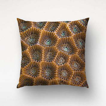 Reef Art Throw Pillow, Coral Surface Photo, Brown Decor, Rustic Pillow Cover