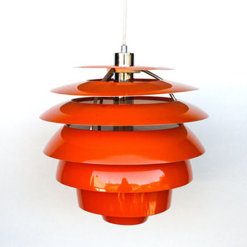Atomic Ceiling Light / Orange Space Age Ceiling Lamp Pendant Lamp / danish design lamp