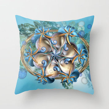 She Sells Sea Shells on the Sea Shore Throw Pillow by Desirée Glanville
