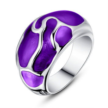 Stainless Steel Liquid Pattern Purple Epoxy Ring