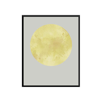 Full Moon Printable Art, Watercolor painting, Minimalist Printable Art, Modern Printable Art, Watercolor print,Watercolor Painting Abstract.