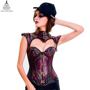 sexy steampunk Gothic Clothing hot shapers bustiers waist trainer corset underbust Leather slimming party corsets and bustiers