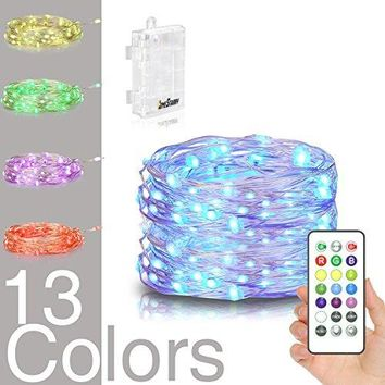 LED String Lights,Battery Powered Multi Color Changing String Lights With Remote,50 leds Indoor Decorative Silver Wire