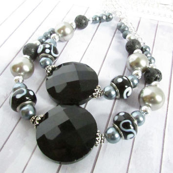 Curtain Tiebacks, Beaded Curtain Tiebacks, Drapery Tie Backs, Curtain Tie Backs, Black & White Tiebacks, Window Decor, Curtain Decor