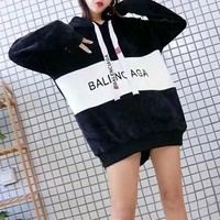 """Balenciaga"" Women Casual Loose Fashion Velvet Multicolor Letter Long Sleeve Pullover Hooded Sweater Tops"