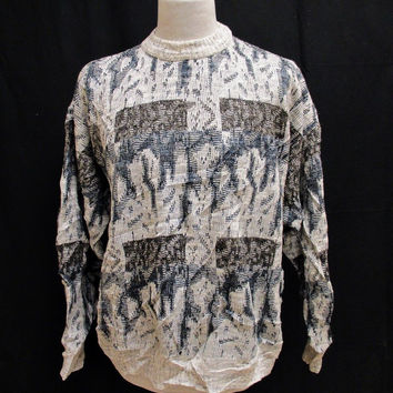 Vintage 1990s Jumper Sweater Large Grunge Flaming Geometric