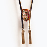 Long embroidered necklace