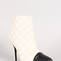 Dollhouse Infinite Quilted Two Tone Toe Cap Ankle Bootie