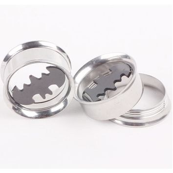 2pcs Screw Ear Expander Expansion Stretcher Stainless Steel Bat Screwed Fesh Plugs Tunnel Hollow Body Piercings Jewelry 6-16mm