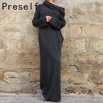 Preself New Sexy autumn winter Women dresses plus size Off Shoulder Hooded Shirt Maxi Long Party Casual Dress vestidos