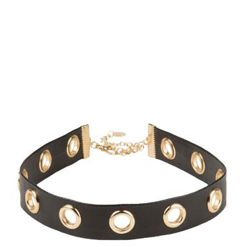 AKIRA Leatherette Choker With Grommets in Black