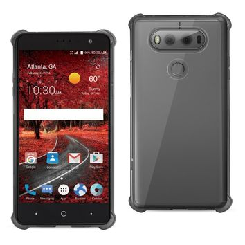 LG V20 5.7 Inches Clear Bumper Case With Air Cushion Protection (Clear Black)